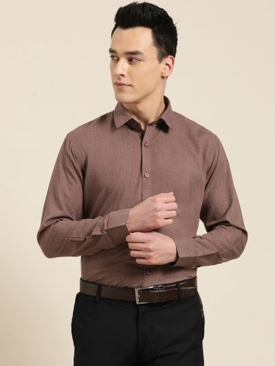 Sojanya (Since 1958), Men's Cotton Wine Classic Formal Shirt