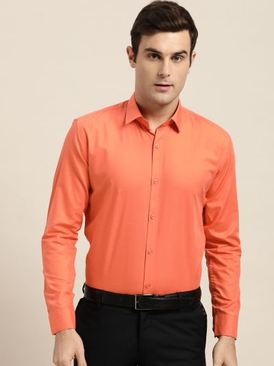 Sojanya (Since 1958), Men's Cotton Orange Classic Formal Shirt