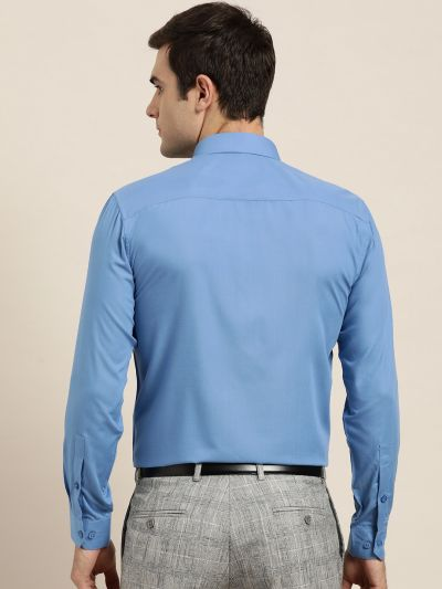 Sojanya (Since 1958), Men's Cotton Blue Classic Formal Shirt