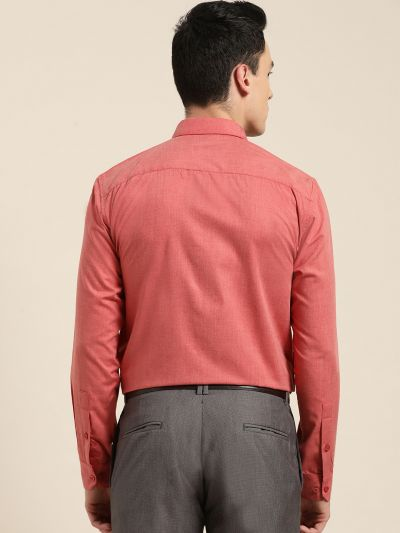 Sojanya (Since 1958), Men's Cotton Coral Red Classic Formal Shirt