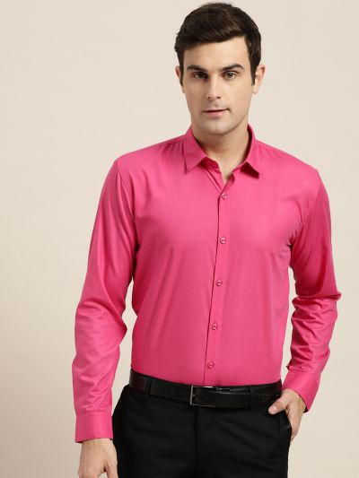 Sojanya (Since 1958), Men's Cotton Dark Pink Classic Formal Shirt
