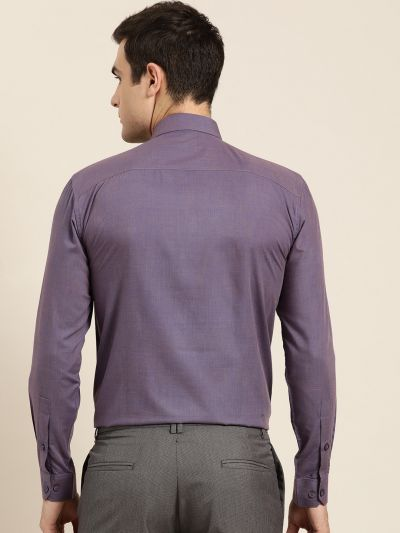 Sojanya (Since 1958), Men's Cotton Purple Classic Formal Shirt
