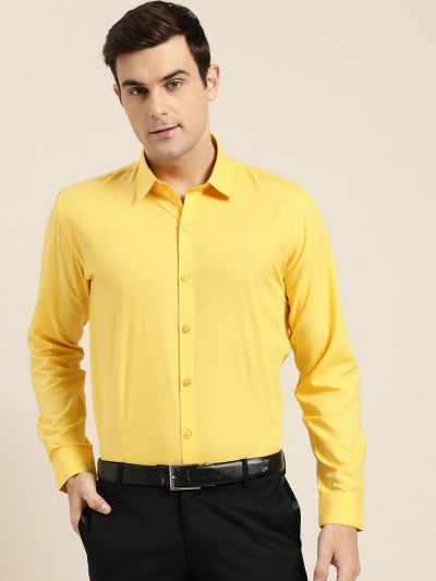 Sojanya (Since 1958), Men's Cotton Yellow Classic Formal Shirt