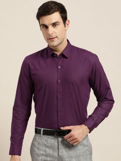 Sojanya (Since 1958), Men's Cotton Dark Purple Classic Formal Shirt