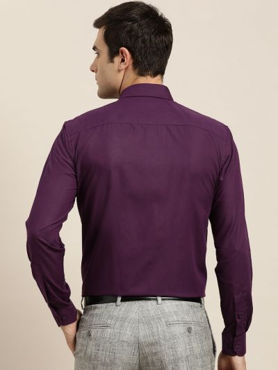 Sojanya (Since 1958), Men's Cotton Dark Purple Classic Formal Shirt