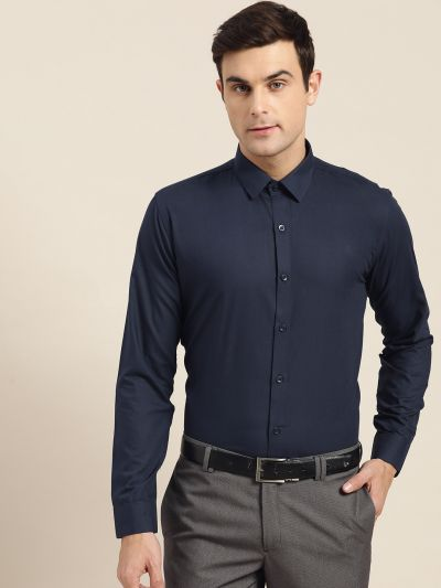 Sojanya (Since 1958), Men's Cotton Navy Blue Classic Formal Shirt