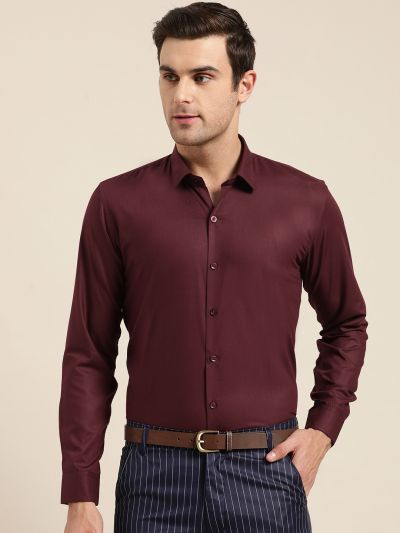 Sojanya (Since 1958), Men's Cotton Maroon Classic Formal Shirt