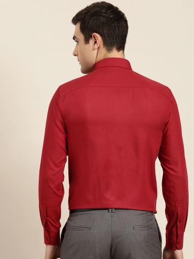 Sojanya (Since 1958), Men's Cotton Red Classic Formal Shirt