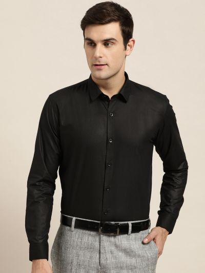 Sojanya (Since 1958), Men's Cotton Black Classic Formal Shirt