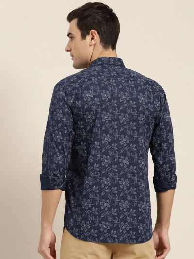 Sojanya (Since 1958), Mens Cotton Navy Blue & Grey Printed Casual Shirt