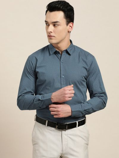 Sojanya (Since 1958), Mens Cotton Teal Blue & OffWhite Printed Formal Shirt