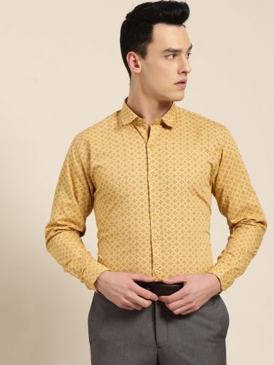 Sojanya (Since 1958), Mens Cotton Mustard & Navy Blue Printed Formal Shirt