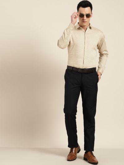 Sojanya (Since 1958), Mens Cotton Beige & Blue Printed Formal Shirt