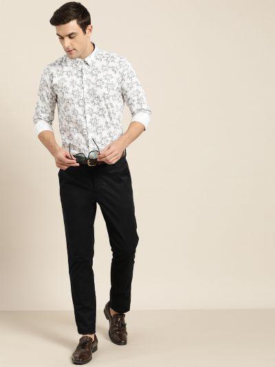 Sojanya (Since 1958), Mens Cotton White & Black Printed Formal Shirt