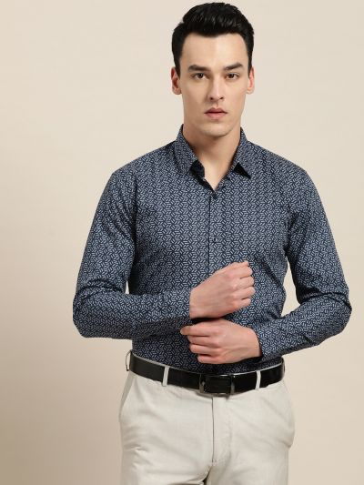 Sojanya (Since 1958), Mens Cotton Navy Blue & Light Blue Printed Formal Shirt