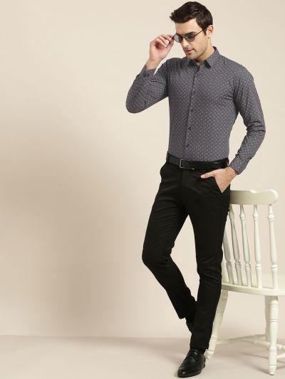 Sojanya (Since 1958), Mens Cotton Charcoal Grey Printed Formal Shirt
