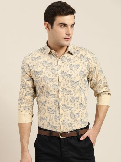Sojanya (Since 1958), Mens Cotton Beige & Mid Grey Printed Formal Shirt