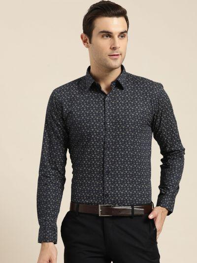 Sojanya (Since 1958), Mens Cotton Navy Blue & Gold Printed Formal Shirt
