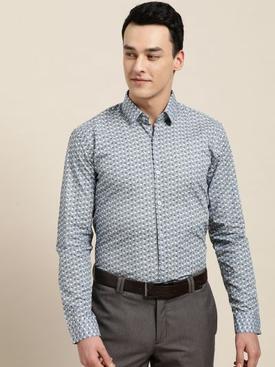 Sojanya (Since 1958), Mens Cotton Blue & OffWhite Printed Formal Shirt