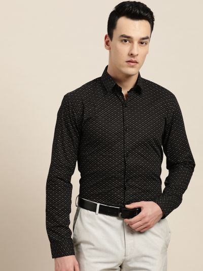 Sojanya (Since 1958), Mens Cotton Black & Multi Printed Formal Shirt