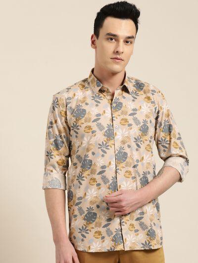 Sojanya (Since 1958), Mens Cotton Fawn & Multi Printed Casual Shirt