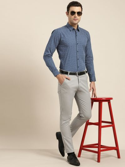 Sojanya (Since 1958), Mens Cotton Teal Blue & Grey Printed Formal Shirt