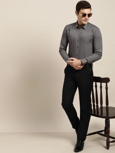 Sojanya (Since 1958), Mens Cotton Grey & Black Printed Formal Shirt