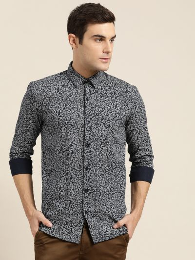 Sojanya (Since 1958), Mens Cotton Navy Blue & White Printed Casual Shirt