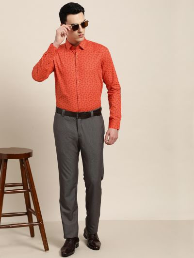Sojanya (Since 1958), Mens Cotton Orange & Red Printed Formal Shirt