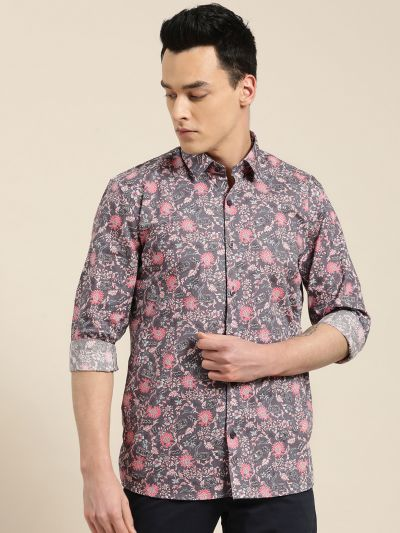 Sojanya (Since 1958), Mens Cotton Taupe & Pink Printed Casual Shirt