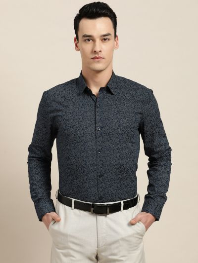 Sojanya (Since 1958), Mens Cotton Navy Blue & Silver Printed Formal Shirt