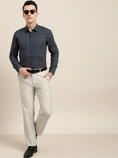 Sojanya (Since 1958), Mens Cotton Navy Blue & Silver Printed Formal Shirt