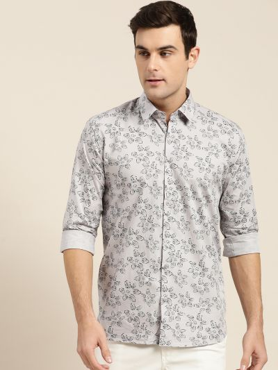 Sojanya (Since 1958), Mens Cotton Grey & Black Printed Casual Shirt