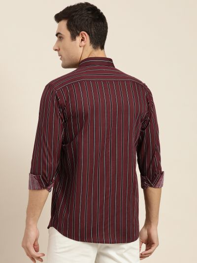 Sojanya (Since 1958), Mens Cotton Maroon & Black Stripe Casual Shirt