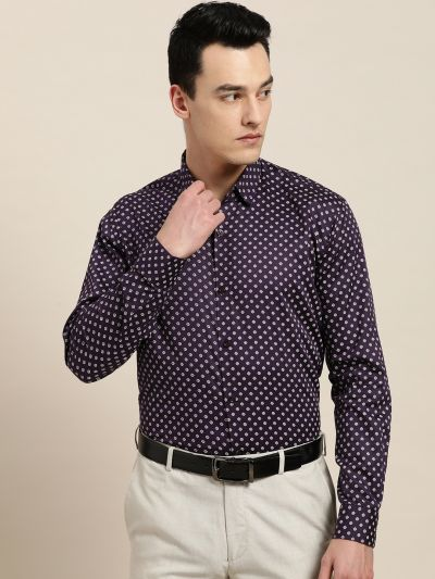 Sojanya (Since 1958), Mens Cotton Dark Purple & OffWhite Printed Formal Shirt