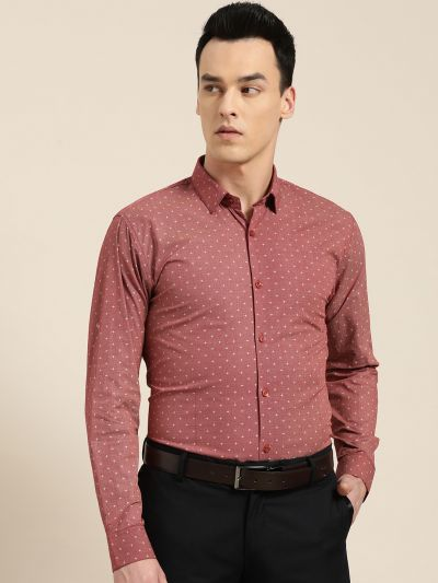 Sojanya (Since 1958), Mens Cotton Coral Red & Beige Printed Formal Shirt