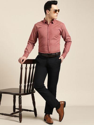 Sojanya (Since 1958), Mens Cotton Coral Red & Beige Printed Formal Shirt