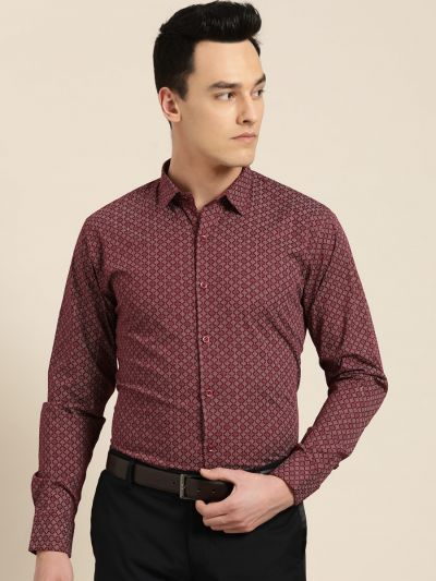 Sojanya (Since 1958), Mens Cotton Burgundy & White Printed Formal Shirt