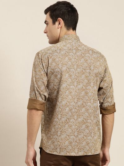 Sojanya (Since 1958), Mens Cotton Metallic Gold & White Printed Casual Shirt