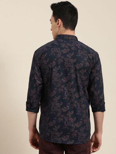 Sojanya (Since 1958), Mens Cotton Navy Blue & Peach Printed Casual Shirt