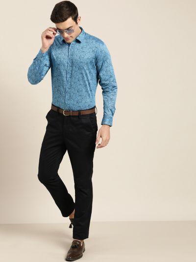 Sojanya (Since 1958), Mens Cotton Cobalt Blue & Black Printed Formal Shirt