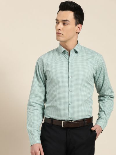 Sojanya (Since 1958), Mens Cotton Sea Green & Blue Printed Formal Shirt