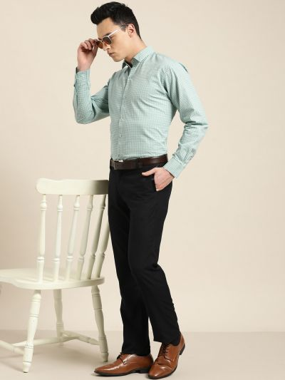 Sojanya (Since 1958), Mens Cotton Sea Green & Blue Printed Formal Shirt
