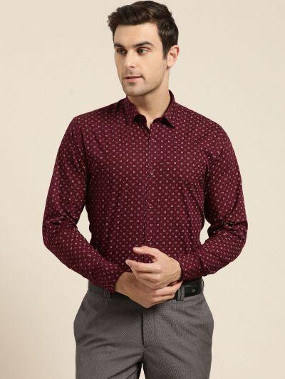 Sojanya (Since 1958), Mens Cotton Maroon & Multi Printed Formal Shirt