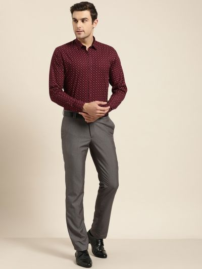 Sojanya (Since 1958), Mens Cotton Maroon & Multi Printed Formal Shirt