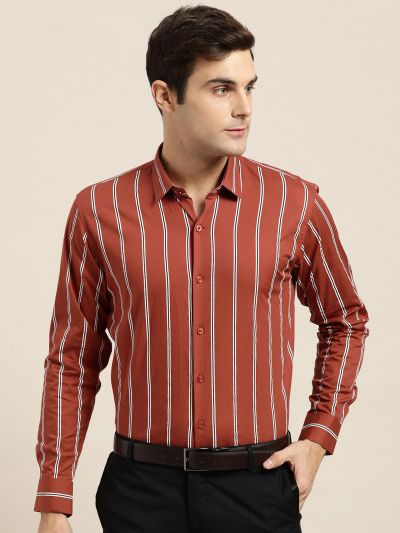 Sojanya (Since 1958), Mens Cotton Dark Rust & White Printed Formal Shirt