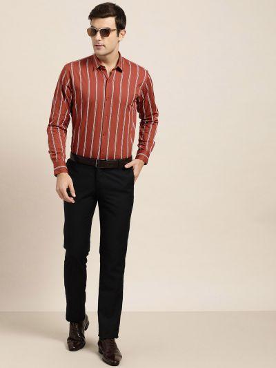 Sojanya (Since 1958), Mens Cotton Dark Rust & White Printed Formal Shirt