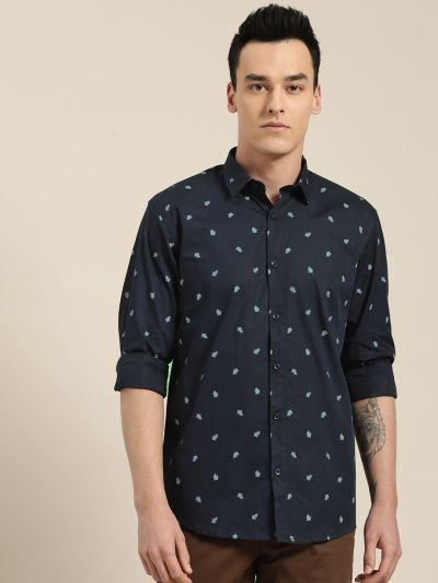 Sojanya (Since 1958), Mens Cotton Navy Blue & Blue Printed Casual Shirt