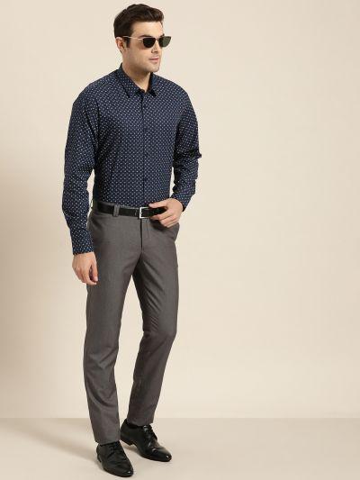 Sojanya (Since 1958), Mens Cotton Navy Blue & Multi Printed Formal Shirt
