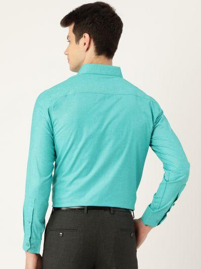 Sojanya (Since 1958), Mens Cotton Linen Turquoise Blue Solid Formal Shirt